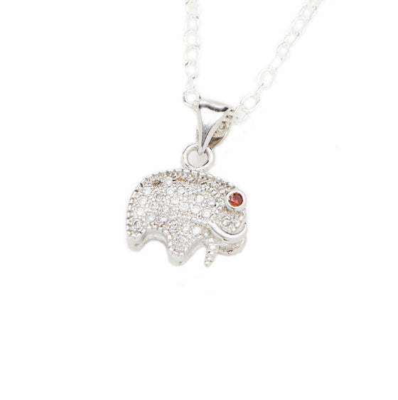 Sterling Silver Elephant Charm Necklace- Mini Me