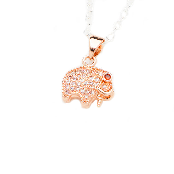 Sterling Silver Rose Gold Elephant Charm Necklace- Mini Me