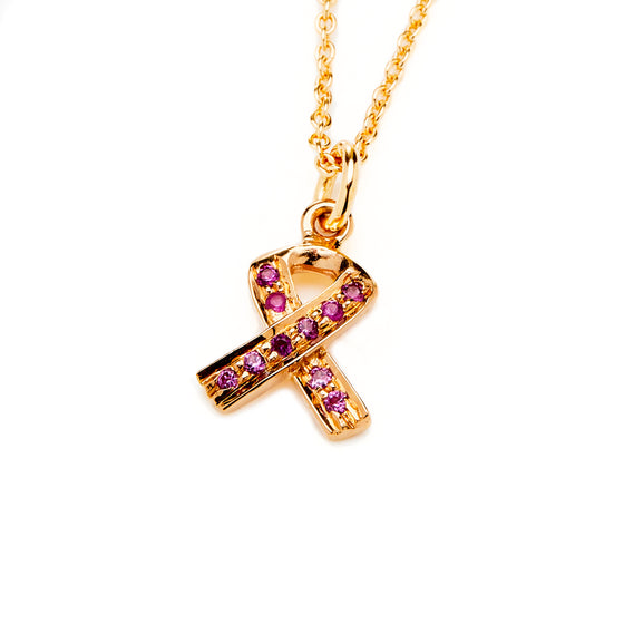 18k Rose Gold Breast Cancer Awareness Charm Necklace