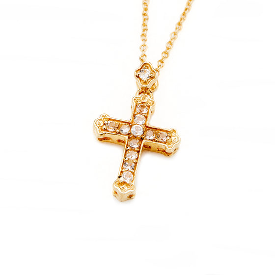 Gold White Sapphire Cross Necklace