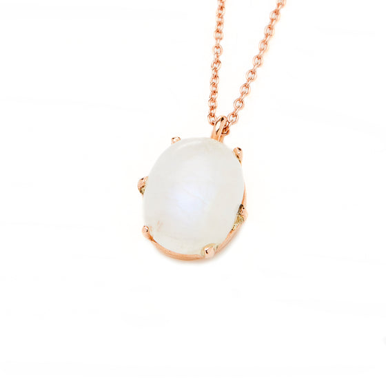 Rose Gold Moonstone Pendant Necklace
