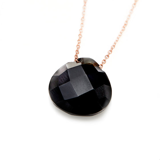Rose Gold Black Onyx Pendant Necklace