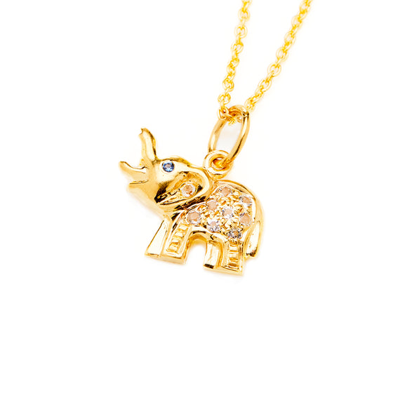 Gold Elephant Trunk Charm Necklace