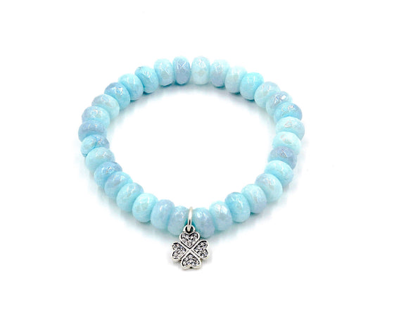 Blue Mystic Silverite with Clover Charm