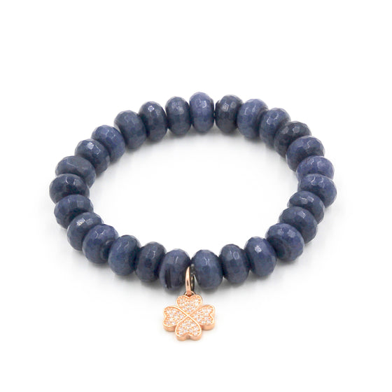 Dark Blue Sapphire Jade with Rose Gold Clover Charm
