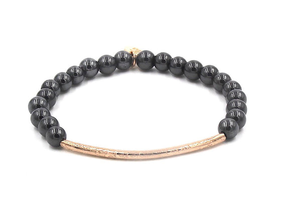 Rose Gold Tube Hematite Stretch Bracelet