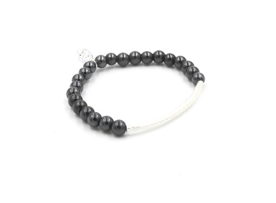 Sterling Silver Tube Hematite Stretch Bracelet