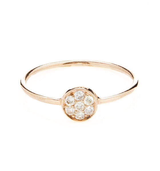 18k Rose Gold Diamond Coin Ring