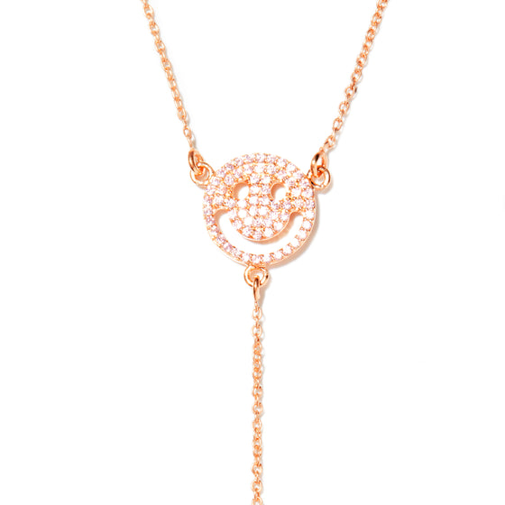 Rose Gold Happy Face Lariat Necklace