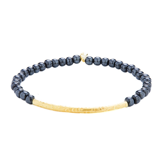 14k Gold Tube Hematite Stretch Bracelet