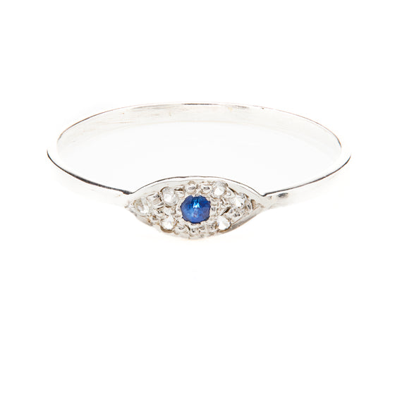 Evil Eye Sapphire and Diamond Ring