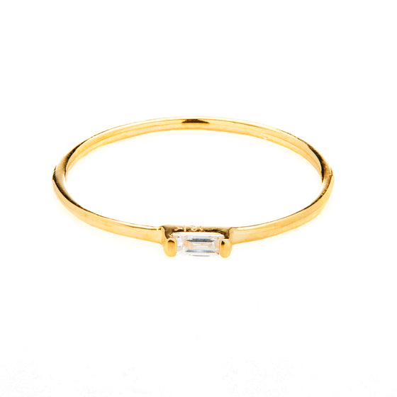 18k Gold Baguette Rectangle Diamond Ring