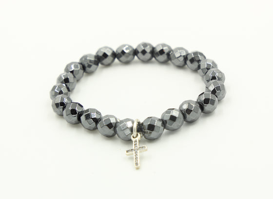 Grey Pyrite with Cross Charm
