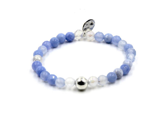 Blue Agate with Silver Ball