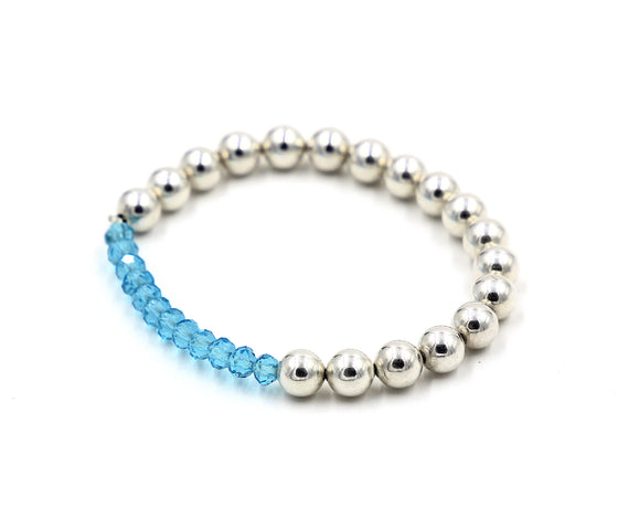 Sterling Silver Beaded Bracelet with Blue Crystals- Mini Me