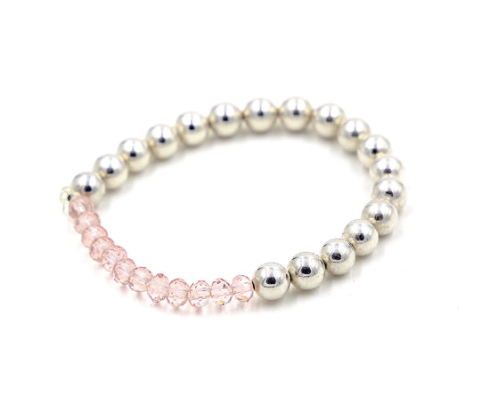 Silver Beaded Bracelet with Pink Crystals- Mini Me