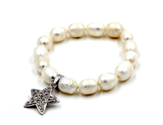 Freshwater Pearl Stretch Bracelet with Star Charm- Mini Me
