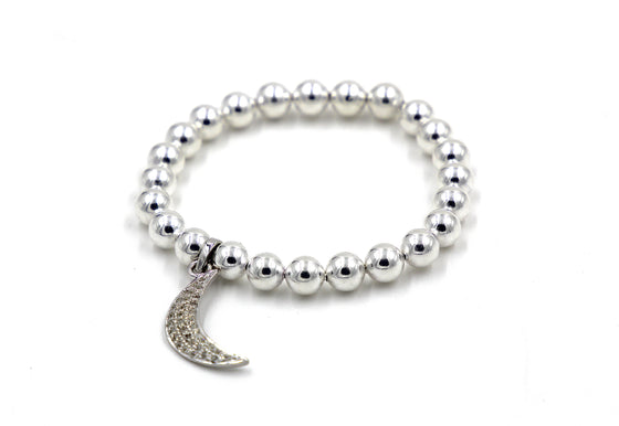 Silver Moon Stretch Bracelet- Mini Me