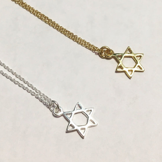 Gold Star of David Charm Necklace