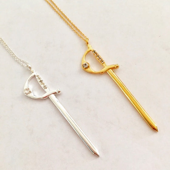 Silver Sword Charm Necklace