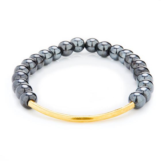 Gold Bar Hematite Bracelet- Mini Me
