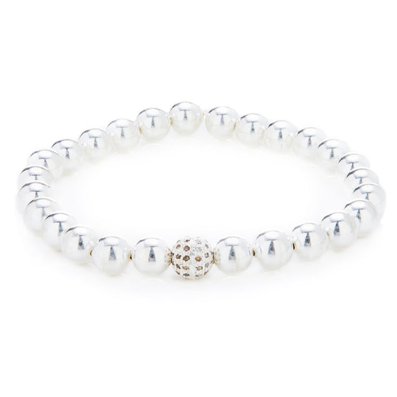 Sterling Silver Ball Bracelet with Pave Diamond