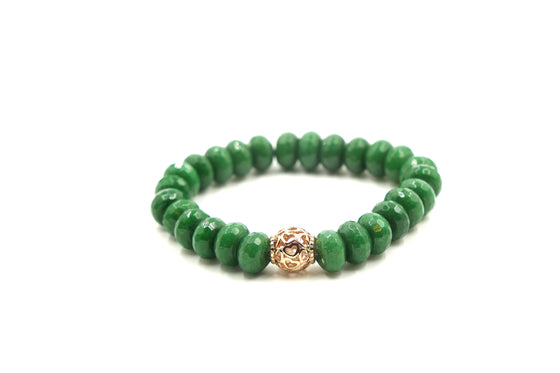 Emerald Jade with Rose Gold Open Heart Ball