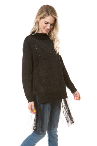 E8120 - MOCK NECK METALLIC SWEATER WITH TULLE