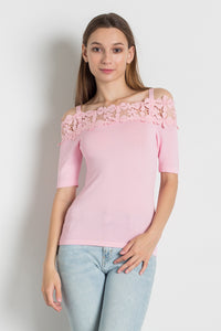 E8092 - COLD SHOULDER SWEATER TOP WITH LACE DETAILS