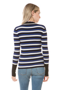 E8114 - SCALLOPED MOCK NECK STRIPED FITTED SWEATER