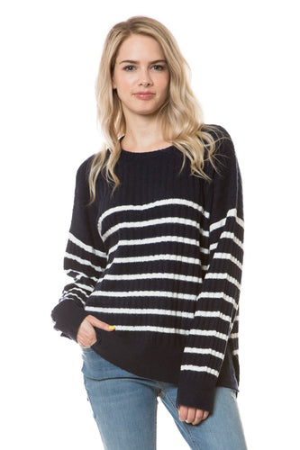 EFW18E8015 - ROUND NECK HIGH-LOW STRIPED SWEATER