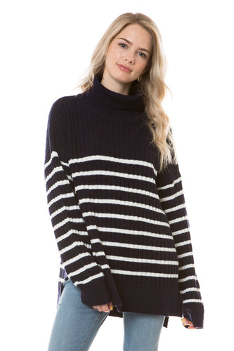 EFW18E8019 - TURTLE NECK RIB KNIT STRIPED SWEATER
