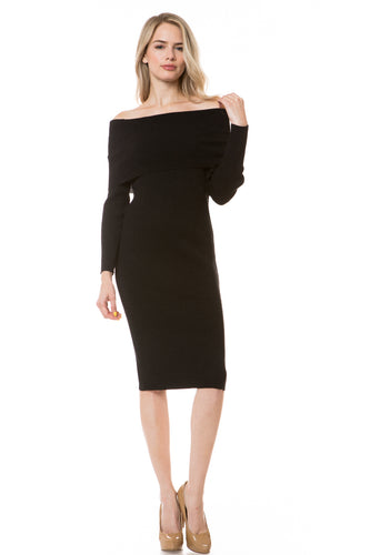 E8125 - OFF-THE-SHOULDER SWEATER DRESS