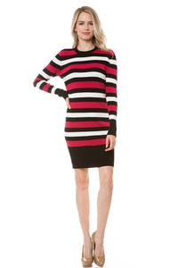 E8126 - ROUND NECK STRIPED FITTED SWEATER DRESS