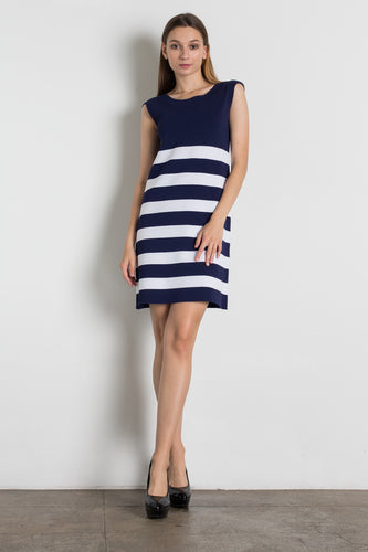 ESS18J8608 - SCOOP NECK SLEEVELESS STRIPED DRESS