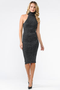 EXE8189 - METALLIC ROLL NECK RACERBACK FITTED SWEATER DRESS