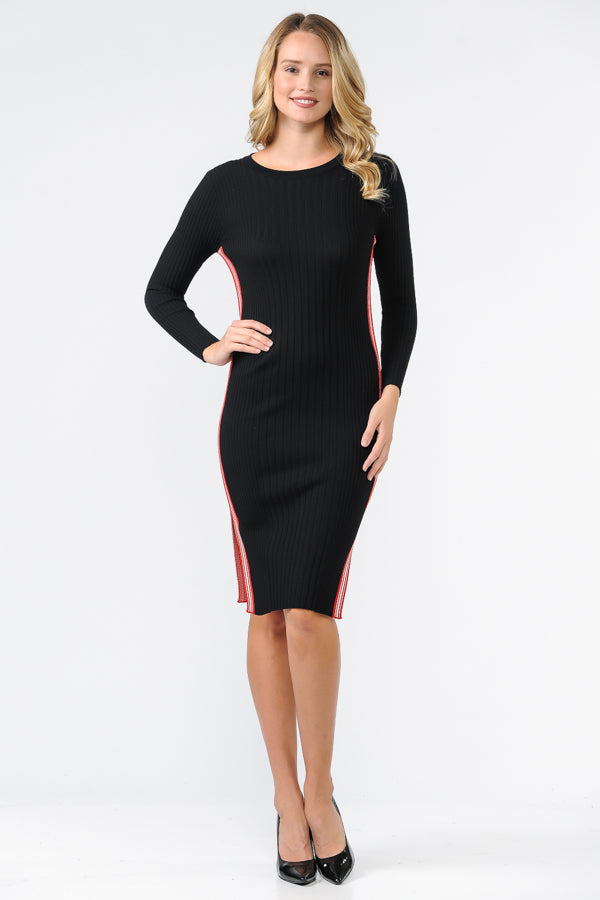 EXE8190 - ROUND NECK FITTED SWEATER DRESS