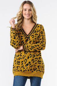 EXE8187 - V-NECK ANIMAL PRINT SWEATER