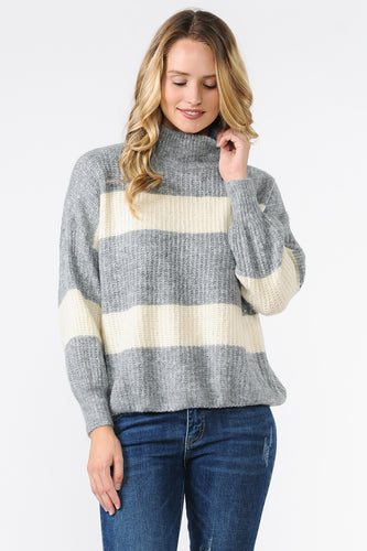 EXE8148 - TURTLE NECK OVERSIZED STRIPED SWEATER
