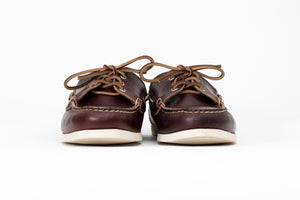 True Maine Boat Shoe- Burgundy Chromexcel- White Boat Sole