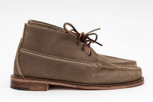 3 Eyelet Chukka- Waxed Khaki Roughout-Leather Outsole/Combination Heel
