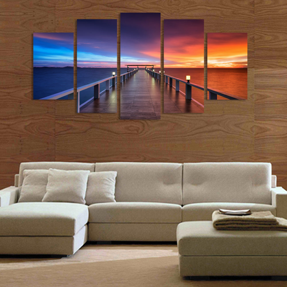 5 panel wall decor art bridge hd picture print on canvas paintings with frame ready to