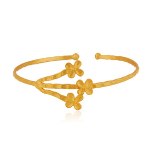 Lotus Lily 3-flower Cuff Bangle