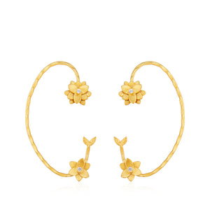 Lotus Lily Semi-Hoop Earrings