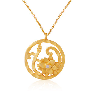 Lotus Lily Pendant Necklace