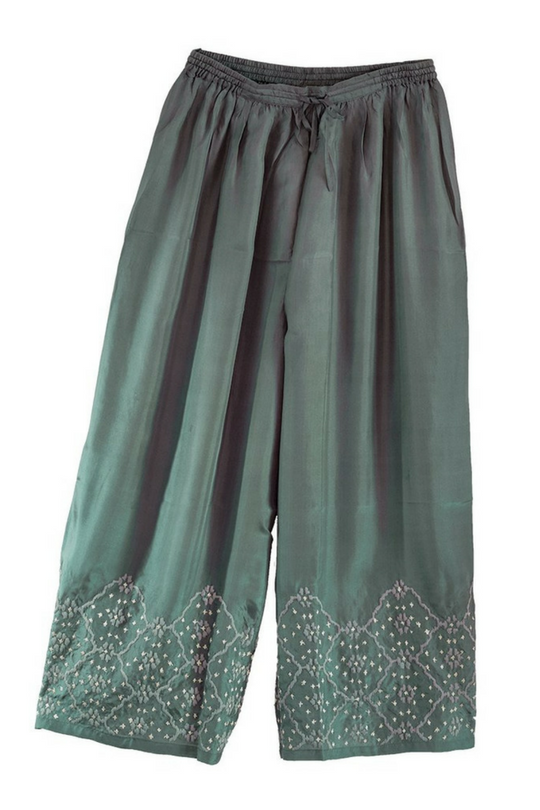Amasya Silk Pants Pure silk, bottle green, lightweight summer pants