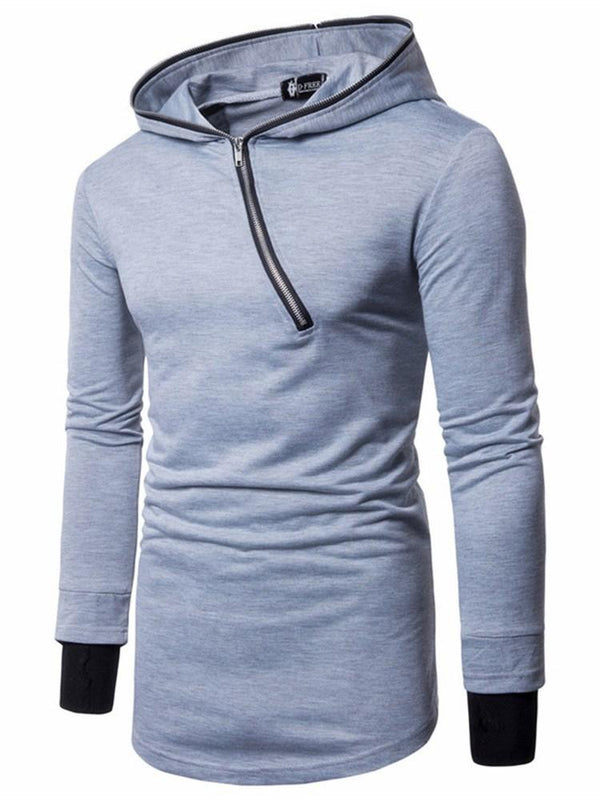 Zipper Color Block Pullover Fall Casual Hoodies