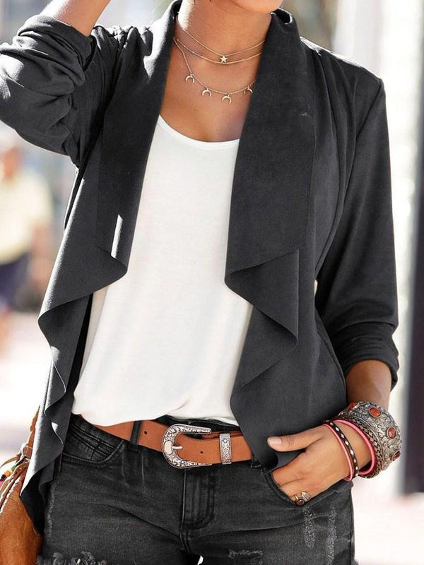 Loose Three-Quarter Sleeve Wrapped Regular Fall Jacket