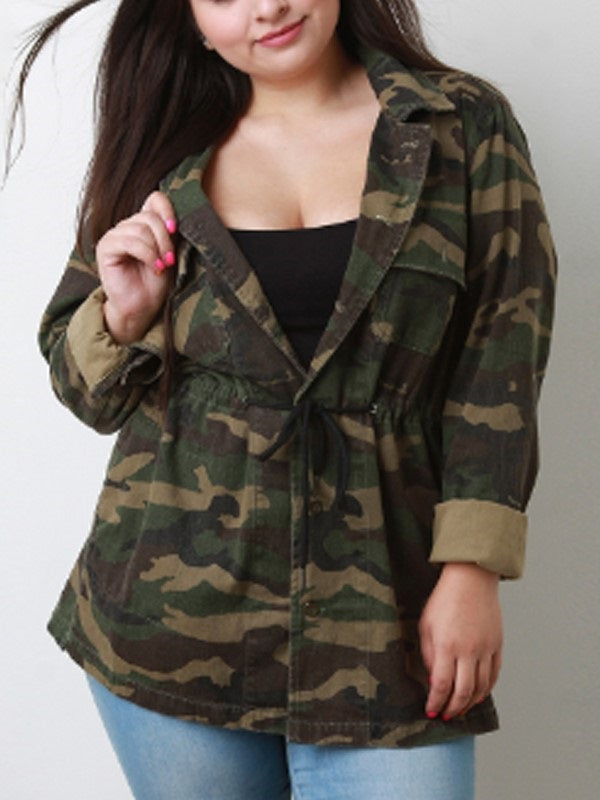 Camouflage Single-Breasted Coat