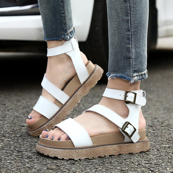 Ankle Strap Open Toe Buckle Platform Women Casual Sandals